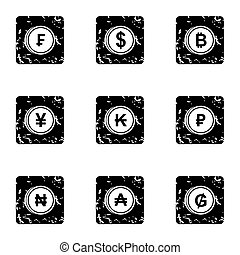 Currency icons set, grunge style - Currency icons set....