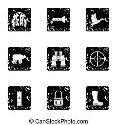 styl, Zwierzęta, ikony, komplet,  Grunge, Polowanie