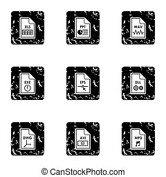 Files icons set, grunge style - Files icons set. Grunge...