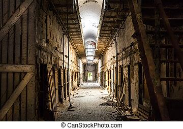 Old prison dark hallway