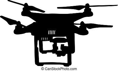 Black silhouette drone quadrocopter, vector illustration -...