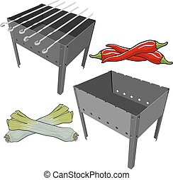 vector black BBQ Grill with onions and red pepper on white background
