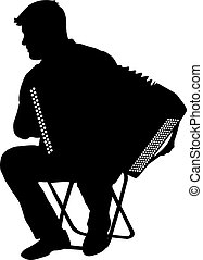 Silhouette musician, accordion player on white background,...