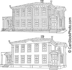 Drawing, sketch of a house. Vector illustration.