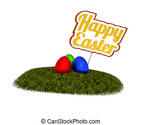 Happy Easter sign with colored eggs on green grass, 3d...