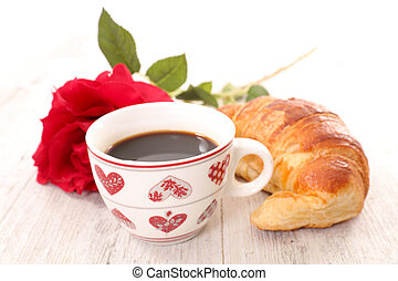 coffee and croissant for valentine's day