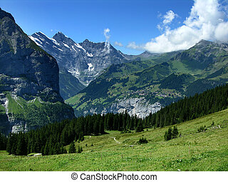 Murenn village in Switzerland Alps - Murren mountain village...