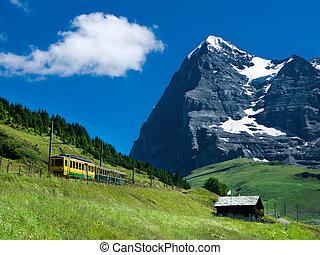 Jungfraubahn train in Eiger mountain, Switzerland