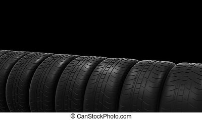 Car tyres animation with alpha channel HD