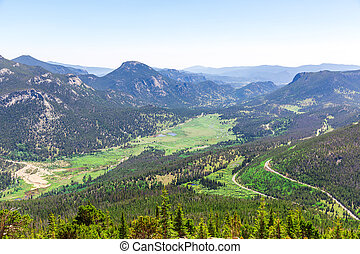 Landscape of valley with evergreen mountains at Estes Park,...