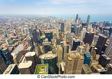 Aerial view of Chicago downtown at foggy day from high...