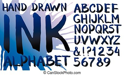 Hand drawn ink alphabet. Letters and numerals with splash...