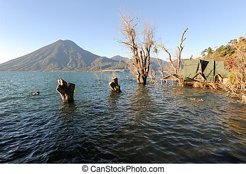 Lake Atitlan with vulcano San Pedro on Guatemala