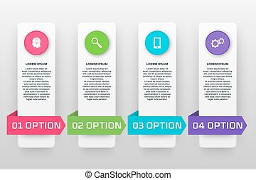Vector infographics template with four options in material design style. It can be used as a chart, numbered banner, presentation, graph, report, web design etc.