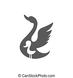 ugly duck - Ugly Duckling, vector graphic illustration logo,...