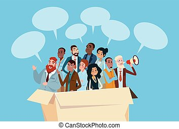 Business People Candidate In Box  Group Businesspeople Human Resources Crowd