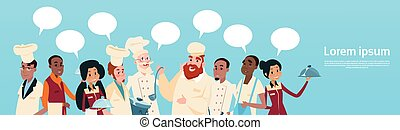 Restaurant Stuff Cook And Waiters Service Mix Race Group...