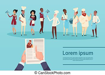Hands Hold CV Profile Resume Choose from Restaurant Stuff...