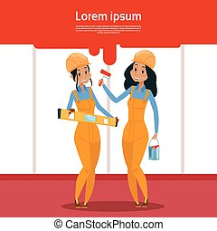 Builder Two Woman Construction Industry Worker Flat Vector...