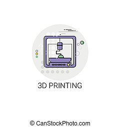 3d Printing Modern Technology Device Icon Vector...