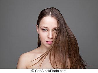 Beautifu brunette woman with long hair - Beautiful young...