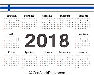 Vector Finnish circle calendar 2018. Week starts from...