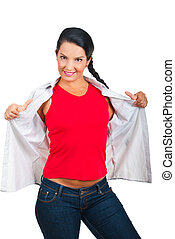 Casual woman in blank t-shirt - Casual woman showing her red...