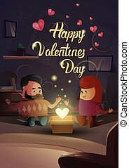 Valentine Day Gift Card Holiday Couple Lovers Modern Apartment Heart Shape Celebration