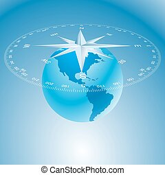 compass rose and globe