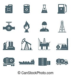 oil and gas icon set - oil and gas industry icon set. oil...