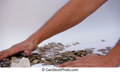 Collection capital - A man collects funds with his own hands...