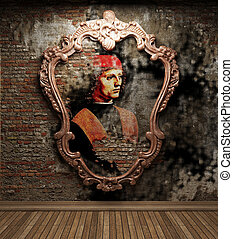antique portrait fresco made in 3D