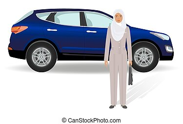 Business people concept. Arab businesswoman standing on a luxury car background.