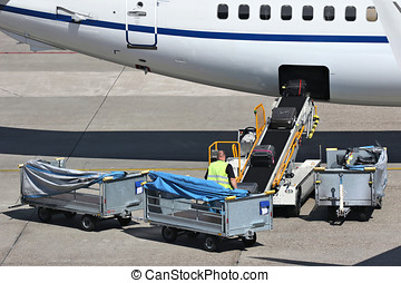 luggage being loaded into aircraft - loose luggage being...