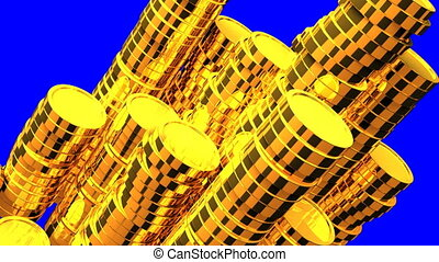 Gold Coins On Blue Chroma Key. Loop able 3DCG render...