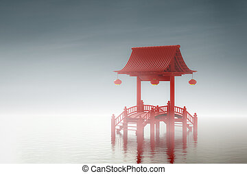 Chinese gate in lagoons. - Chinese gate in lagoons 3d...