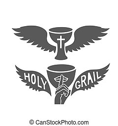 Holy grail with wings, isolated on white background vector...