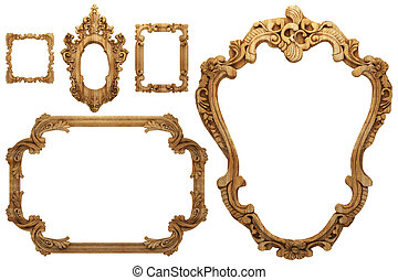 wooden antique frame made 3 D graphics