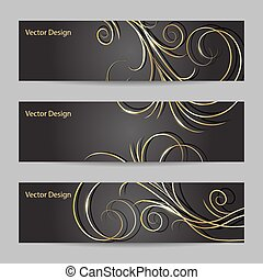 Set of horizontal banners with swirl pattern - Set of...
