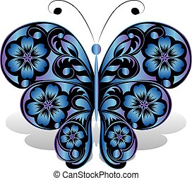 Blue butterfly with floral pattern.