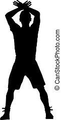 Silhouette of a man with his hand raised. Vector...