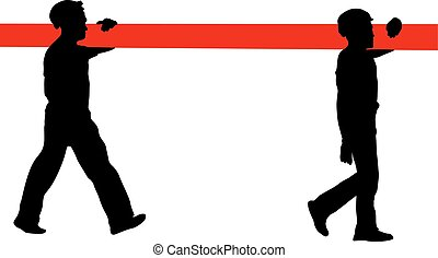 Silhouette of two construction workers carry pipe. Vector illustration