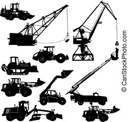 Set of silhouettes construction machinery. Vector...