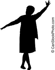 Black silhouette woman with her hands raised. Vector...