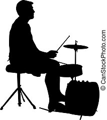 Silhouette musician, drummer on white background, vector...