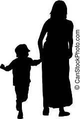 Black silhouettes Family on white background. Vector illustration