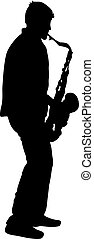 Silhouette musician, saxophonist player on white background,...