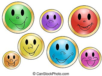set of button with expressions