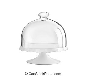 Porcelain cake stand with glass bell jar. 3D rendering with...