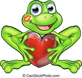 Cartoon Frog with Kiss and Love Heart